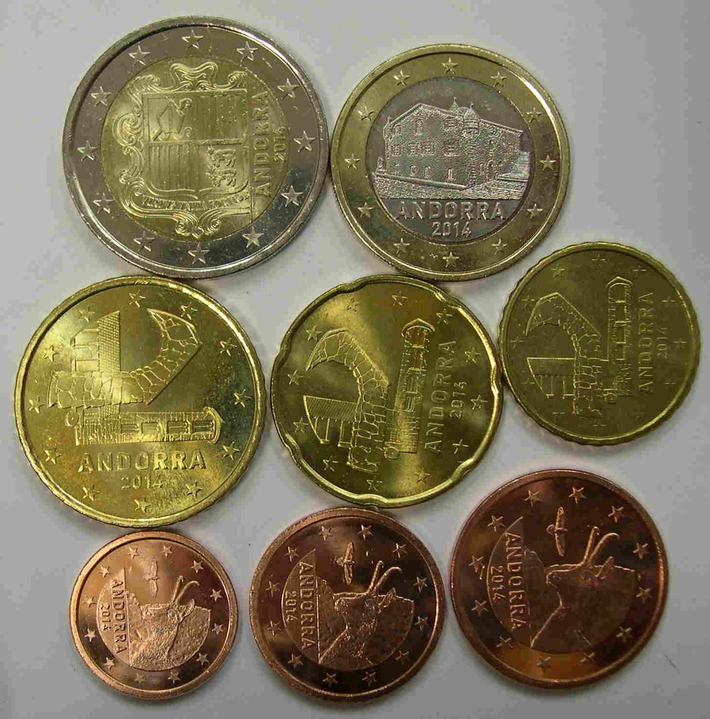 andorra euro 2014 serie 8 monedas de 1 2 5 10 20 50 c ntimos y 1 2 euros sc varios. Black Bedroom Furniture Sets. Home Design Ideas
